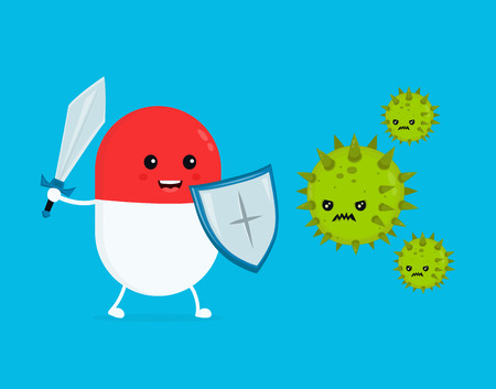 Cute happy funny strong pill guardian with sword and shield fight with bacteria microorganism virus. Vector flat cartoon character illustration icon design.  Pill, health, medical antibiotic concept Illustration