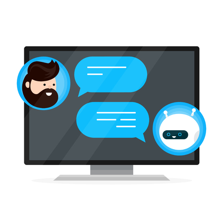 Cute smiling chat bot is written off with a person man. Dialog on smart plasma tv,computer monitor. Vector flat modern style cartoon character illustration icon design. Isolated on white background. Illusztráció