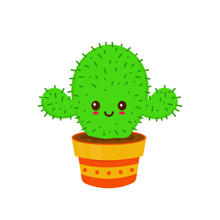 Cute smiling happy funny cactus.Vector flat cartoon character illustration icon desgin. Isolated on white background. Sketch style element. Cactus character concept Stock Vector - 112871004