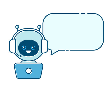 Cute smiling robot,chat bot with speech bubble sign.Vector modern flat cartoon character illustration.Isolated on white background.Speak bubble.Voice support service communication chat bot