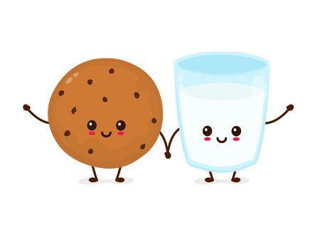 Carino sorridenti biscotto con gocce di cioccolato e bicchiere di latte. Disegno dell'icona di vettore piatto del fumetto iluustration. Isolato su sfondo bianco. Biscotto al cioccolato appena sfornato con concetto di latte