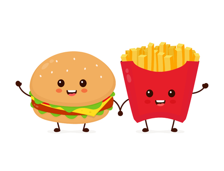 Happy smiling funny cute burger and french fries friends. Vector flat cartoon character illustration icon design. Isolated on white background. French fries, burger,fast food cafe, junk food concept
