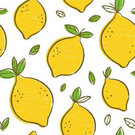 Modello senza cuciture di bellezza moderna di frash limoni, sfondo sovrapposto disegnato a mano. Disegno dell'illustrazione del fumetto vettoriale. Modello senza cuciture con raccolta di agrumi al limone. Illustrazione decorativa, stampa Vettoriali