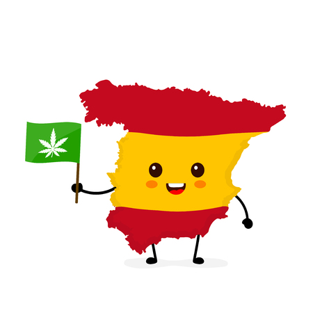 Cute funny smiling happy Spain map and flag character with cannabis marijuana flag. Vector cartoon character illustration icon design. Spain marijuana weed, medical recreational cannabis concept