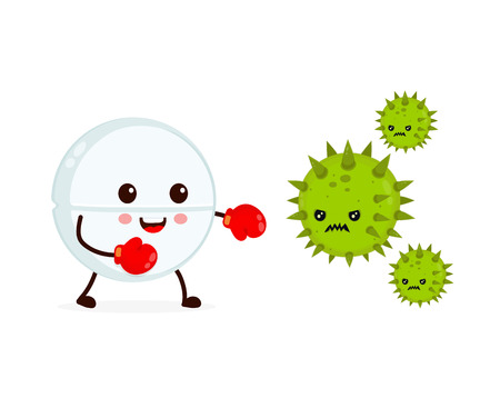 Cute happy funny strong tablet in boxing gloves fight with bacteria microorganism virus. Vector flat cartoon character illustration icon design. Tablet, health, medical antibiotic concept