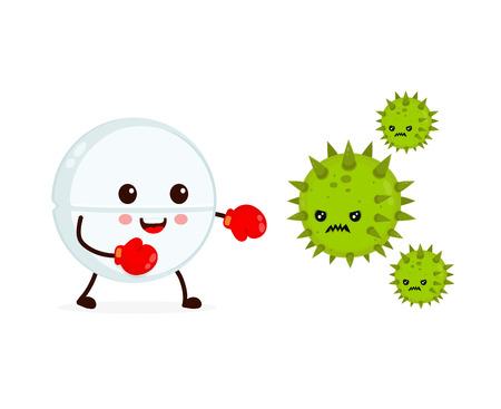 Leuke vrolijke grappige sterke tablet in bokshandschoenen vecht met bacteriën micro-organisme virus. Vector platte cartoon karakter illustratie pictogram ontwerp. Tablet, gezondheid, medisch antibioticumconcept Vector Illustratie