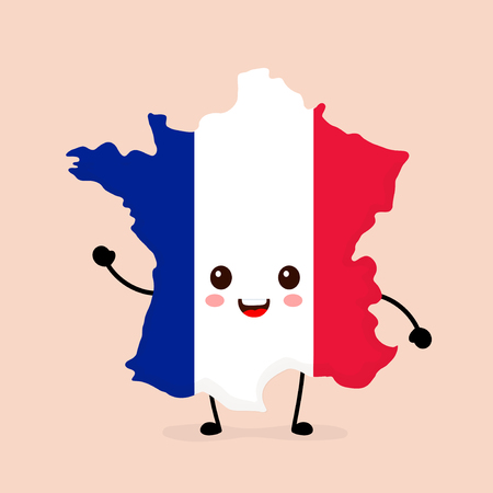Cute funny smiling happy France map and flag character. Vector cartoon character illustration icon design. France map outline concept