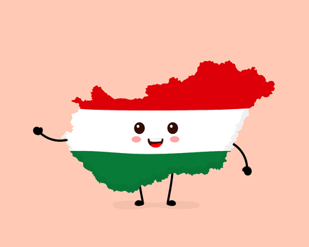 Cute funny smiling happy Hungary map and flag character. Vector cartoon character illustration icon design. Hungary map outline concept Stock Illustratie
