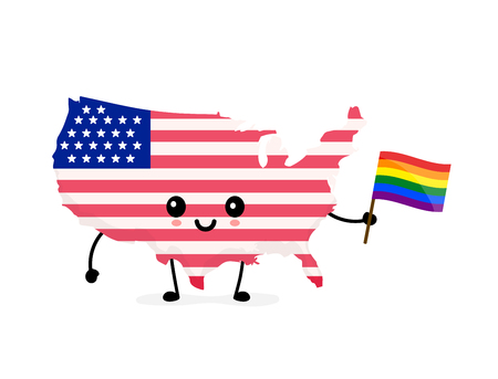 Cute funny smiling happy USA map and flag character with rainbow LGBT gay flag. Vector cartoon character illustration icon design. USA Human rights. LGBTQ. Gay pride concept