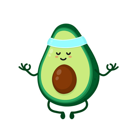 Cute smiling happy strong avocado meditate in yoga pose.Vector flat cartoon character illustration icon.
