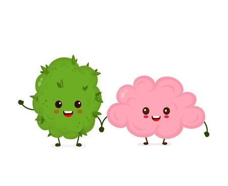 Divertente, sorridente, felice, marijuana, erbaccia, germoglio, e, brain.Vector, appartamento, cartone animato, carattere, illustrazione, icona, design. Isolato su sfondo bianco Vettoriali