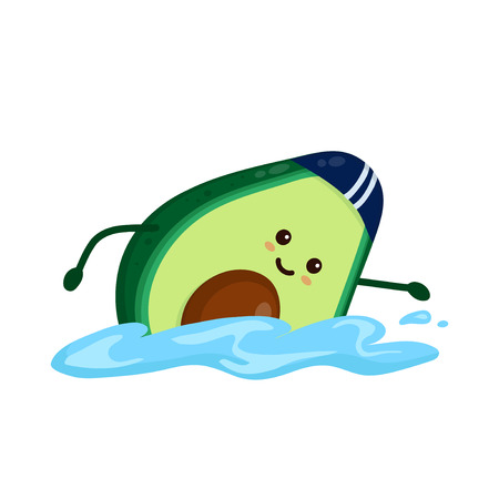 Cute smiling happy strong avocado swimming.Vector flat cartoon character illustration icon. Isolated on white background.Avocado,gym lifestyle,sport swimming,swim,health,fitness nutrition concept