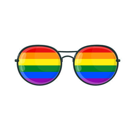Sunglasses with LGBT gay rainbow lenses. Vector flat cartoon illustration icon. Isolated on white background. Rainbow, LGBT pride, gay,human rights, glasses concept