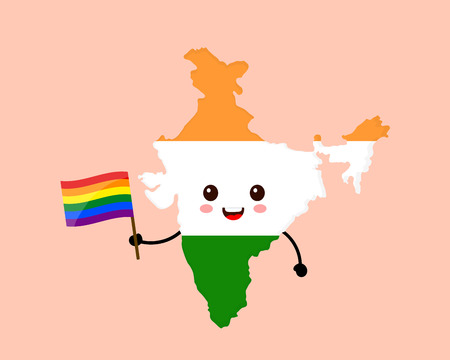 Cute funny smiling happy India map and flag character with rainbow LGBT gay flag. Vector cartoon character illustration icon design. India Human rights. LGBTQ. Gay pride concept