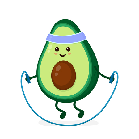 Cute smiling happy strong avocado with jumping rope.Vector flat cartoon character illustration icon. Isolated on white background.Avocado,gym lifestyle,sport jump rope,health,fitness nutrition concept