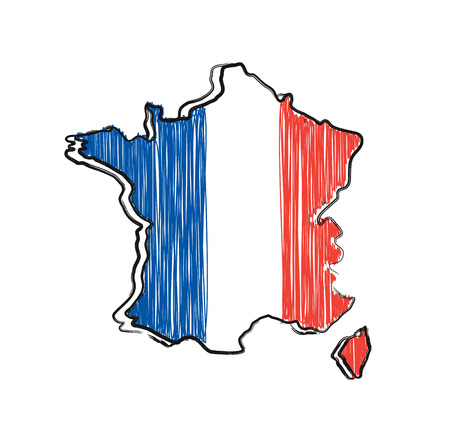 France map and flag in sketch hand drawn style. Vector cartoon illustration icon design. France map outline concept Ilustrace