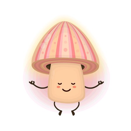 Cute smiling happy magic psilocybin mushroom meditating in psychedelic trip. Vector flat cartoon character illustration design icon. Magic psychedelic mushroom concept Illustration