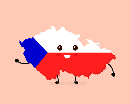 Cute funny smiling happy Czech map and flag character. Vector cartoon character illustration icon design. Czech map outline concept