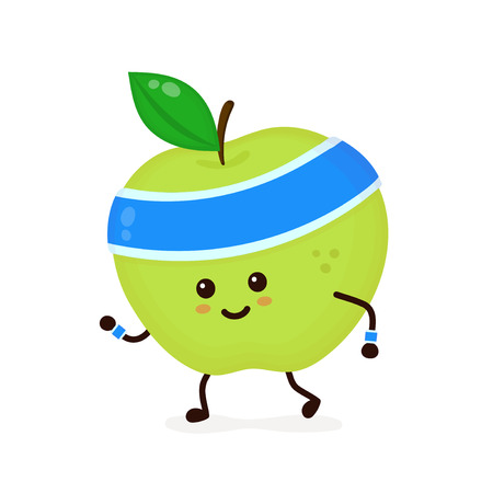 Cute smiling happy strong apple running.Vector flat cartoon character illustration icon. Isolated on white background.Apple,gym lifestyle,sport run,health,fitness nutrition concept Ilustrace