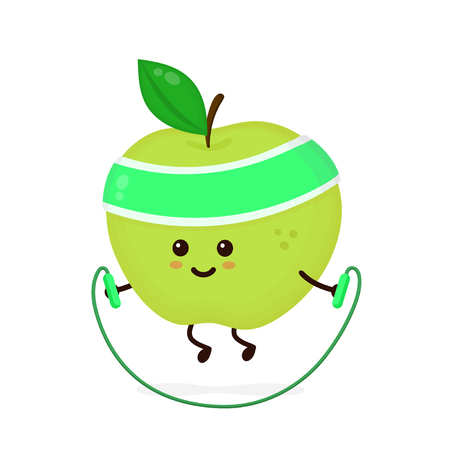 Cute smiling happy strong apple with jumping rope.Vector flat cartoon character illustration icon. Isolated on white background.Apple ,gym lifestyle,sport jump rope,health,fitness nutrition concept Ilustrace