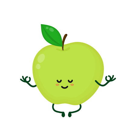 Cute smiling happy strong apple meditate in yoga pose.Vector flat cartoon character illustration icon. Isolated on white background.Apple yoga meditate,gym,sport,health,fitness nutrition concept Ilustrace
