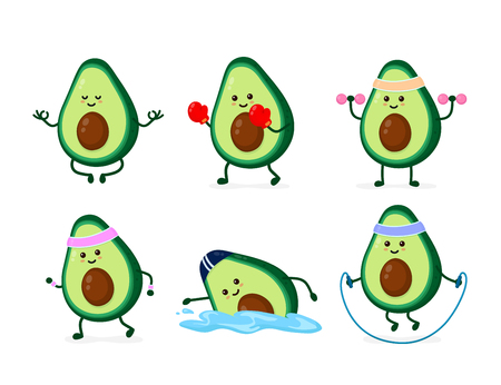Cute smiling happy strong avocado health and fitness set.Vector flat cartoon character illustration icon. Isolated on white background.Avocado yoga meditate,gym,sport cardio and weightlifting concept