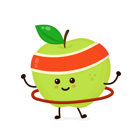 Cute smiling happy strong apple make fitness gym with hoop. Vector flat cartoon character illustration icon.