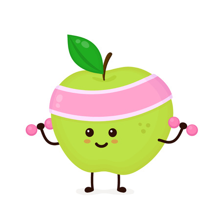 Cute smiling happy strong apple make fitness gym with dumbbells.Vector flat cartoon character illustration icon. Isolated on white background.Apple ,gym,sport,health,fitness nutrition concept