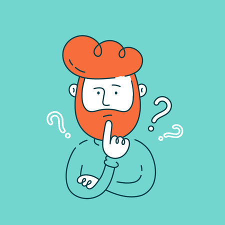 Young man thinking standing under question marks.Vector flat line cartoon illustration character icon.Young hipster business man thinking.Thinking businessman surrounded by question marks concept