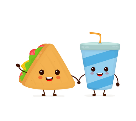 Cute funny smiling happy sandwich and soda water cup.Vector flat cartoon character illustration icon design. Isolated on white background.Fast food, cafe kids menu, sandwich and soda cup concept Ilustrace