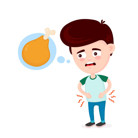 Young suffering sad man is hungry. Thinks about food, fast food, chicken leg. Vector flat cartoon illustration icon design. Isolated on white background. Hungry,chicken leg drumstick concept