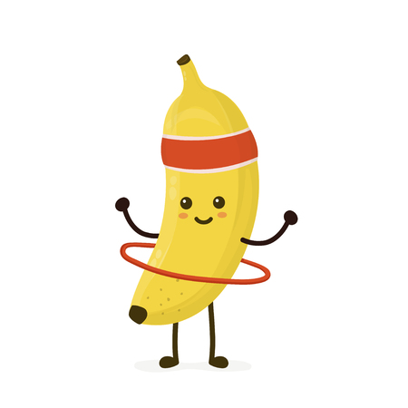 Cute smiling happy strong banana make fitness gym with hula hoop.Vector flat cartoon character illustration icon. Isolated on white background.Banana,gym,sport,health,gymnastics nutrition conce Ilustrace
