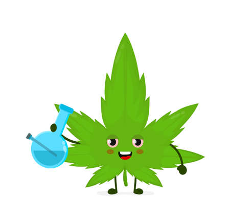 Cute funny smiling happy marijuana weed leaf smoke with bong. flat cartoon character illustration icon design. Isolated on white background.Weed,bong,marijuana,medical and recreation cannabis