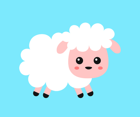 Cute funny sweet sheep. Vector flat line cartoon character illustration icon design.Isolated on white background. Design for child card,t-shirt. Sheep animal concept Ilustrace