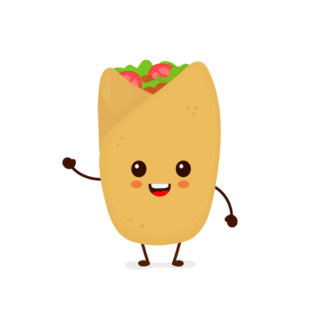 Cute funny smiling happy burrito.Vector flat cartoon character illustration icon design. Isolated on white background.Mexican food, burrito cafe, restaurant menu concept