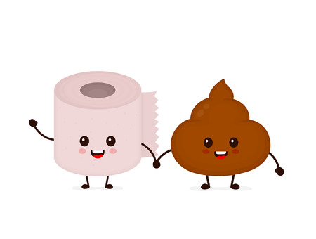 Cute smiling happy funny poop and toilet paper roll. Vector flat cartoon character illustration icon. Isolated on blue background. Poop shit,toilet paper,wc,bathroom concept Ilustrace