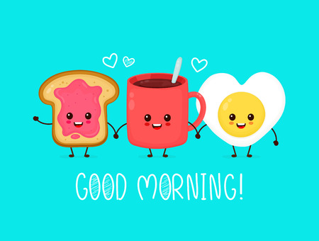 Happy cute smiling funny kawaii fried egg,cup of tea,coffee and toast with jam.Vector flat cartoon character illustration icon.Cute kawaii fried heart form egg,coffee,toast,good morning card concept 矢量图像