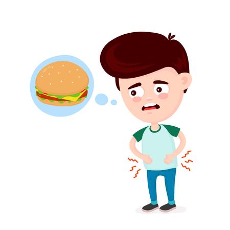 El hombre joven que sufre triste tiene hambre. Piensa en comida, comida rápida, hamburguesa. Diseño de icono de ilustración de dibujos animados plano de vector. Aislado sobre fondo blanco. Hambriento, concepto de hamburguesa