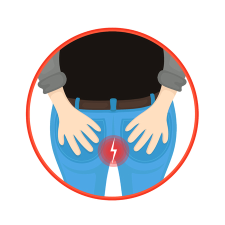Man with hemorrhoids holding his butt in pain. Vector flat cartoon character illustration icon design. Isolated on white background.Man bottom,ass,anal pain caused by hemorrhoid concept