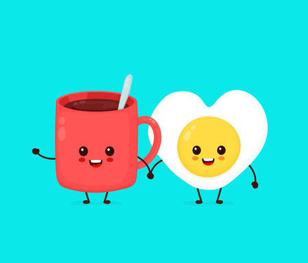 Happy cute smiling funny fried egg and cup of tea,coffee.Vector flat cartoon character illustration icon.Isolated on blue background.Cute fried heart form egg character,morning concept Vector Illustratie