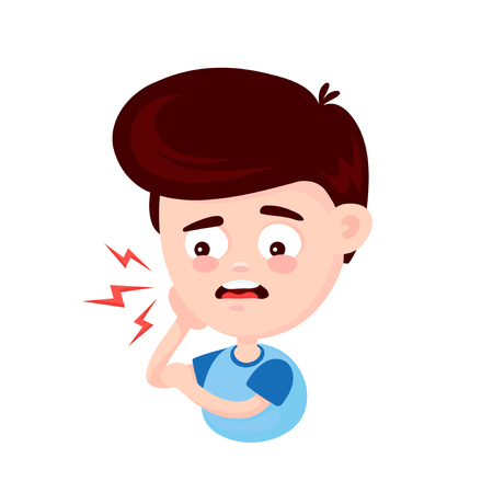 Young cute sad man with a toothache. Frustrated young man touching his cheek and feel aching tooth. Pain in the human body. Concept for dentist. Vector flat cartoon character illustration icon design Ilustração
