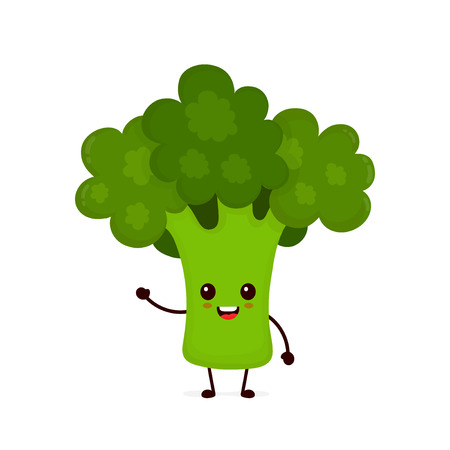 Happy smilling cute broccoli. Vector modern flat style cartoon character illustration icon design.Isolated on white background. Avocado healthy food, good nutrition,vegetarian concept