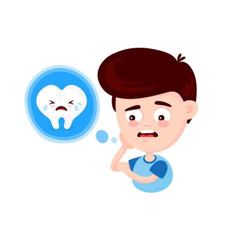 Young cute sad man with a toothache and crying tooth. Frustrated young man touching his cheek and feel aching tooth. Concept for dentist. Vector flat cartoon character illustration icon design