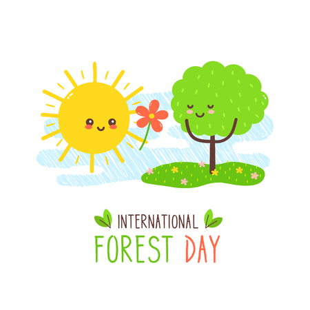 Cute happy sun gives flower to tree. International forest day card.Vector hand drawing style character illustration card desgin.Isolated on white background.Sun,love forest concept Illustration