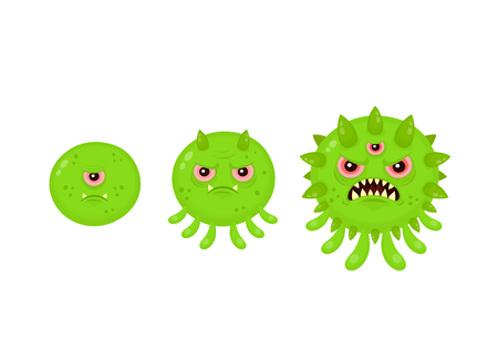 Virus mutation to superbug. Vector illustration