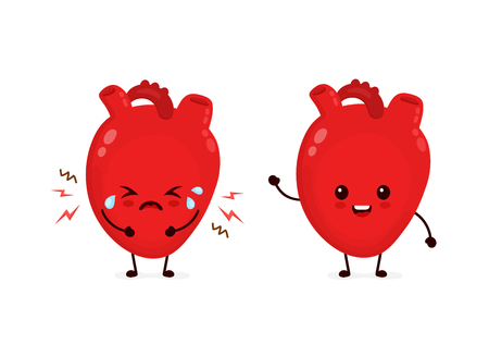 Sad sick unhealthy cry and healthy strong happy smiling cute heart character. Vector flat cartoon illustration icon design. Isolated on white backgound. Heart attack, pain,sick,ache concept Illustration