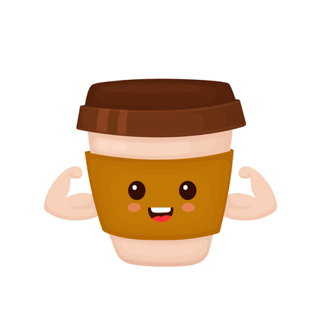 Happy cute strong coffee paper cup shows muscles. Vector flat cartoon character illustration icon.Isolated on white background. Cute strong paper cup character,cafe,coffee to go concept