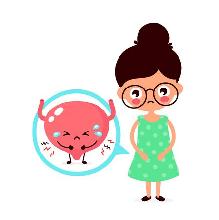 Sad sick young women with pain in bladder character. Vector flat cartoon illustration icon design. Isolated on white background. Bladder problem,ache concept
