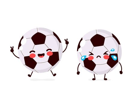 Cute happy smiling and sad cry Football ball character. Vector flat cartoon illustration icon design. Isolated on white background. Football ball character concept Ilustração