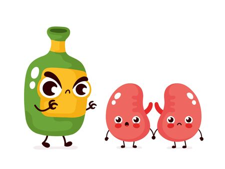 Angry scary alcohol bottle kill kidneys character. Vector flat cartoon illustration icon design. Isolated on white background.Alcohol addiction kill kidneys concept